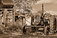Antique tractor on a farm in western Kansas, on the Cimarron National Grassland.