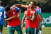 SÃO PAULO,SP,19 JULHO 2013 - TREINO PALMEIRAS -  Vilson (e) e Wesley durante treino do Palmeiras no CT da Barra Funda, zona oeste de Sao Paulo,na manhã sexta feira.O time se prepara para o jogo contra o Figueirense em Florianopolis no sabado (20).FOTO ALE VIANNA - BRAZIL PHOTO PRESS.