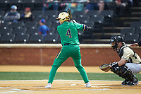 Carter Putz (4) of the Notre Dame Fighting Irish at bat against the Wake Forest Demon Deacons at David F. Couch Ballpark on March 10, 2019 in  Winston-Salem, North Carolina. The Demon Deacons defeated the Fighting Irish 7-4 in game one of a double-header.  (Brian Westerholt/Four Seam Images)