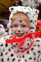 Girl in Dalmatian  costume at the Anoka Halloween Festival age 12.  Anoka Minnesota USA
