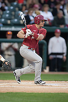 Alabama Crimson Tide outfielder Georgie Salem (22) batting at Baum Stadium during the NCAA baseball game against the Arkansas Razorbacks on March 21, 2014 in Fayetteville, Arkansas.  The Alabama Crimson Tide defeated the Arkansas Razorbacks 17-9.  (William Purnell/Four Seam Images)