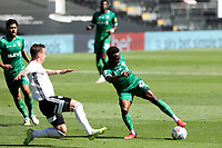 18th July 2020; Craven Cottage, London, England; English Championship Football, Fulham versus Sheffield Wednesday; Moses Odubajo of Sheffield Wednesday is challenged by Stefan Johansen of Fulham