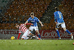 St Johnstone v Hamilton Accies....016.01.16  SPFL  McDiarmid Park, Perth<br /> David Wotherspoon and Gramoz Kurtaj on a snowy afternoon<br /> Picture by Graeme Hart.<br /> Copyright Perthshire Picture Agency<br /> Tel: 01738 623350  Mobile: 07990 594431