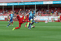 Dayle Southwell of Wycombe Wanderers has a shot on goal during the Sky Bet League 2 match between Crawley Town and Wycombe Wanderers at Broadfield Stadium, Crawley, England on 6 August 2016. Photo by Alan  Stanford / PRiME Media Images.