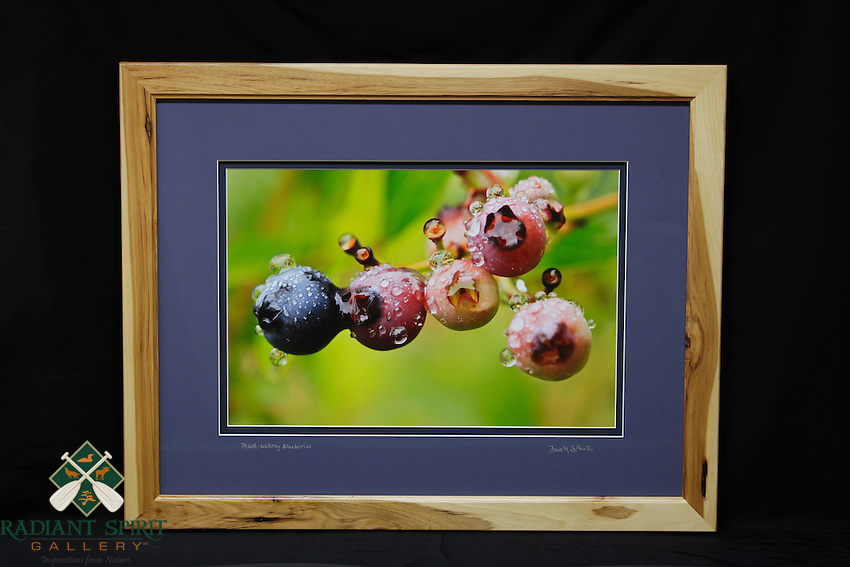 """Mouth-watering Blueberries"", hand-made hickory frame, conservation grade matting, TruVue Museum Glass. Contact us for availability."
