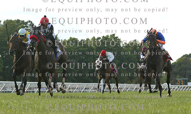 Teaks North #3 (2nd from L) with Eddie Castro riding won the $750,000 United Nations Stakes at Monmouth Park in Oceanport, N.J. on Saturday July 2, 2011.  Second was the 2010 United Nations Winner, French import Chinchon #9 (L) with Garrett Gomez riding.  Photo By Bill Denver/EQUI-PHOTO