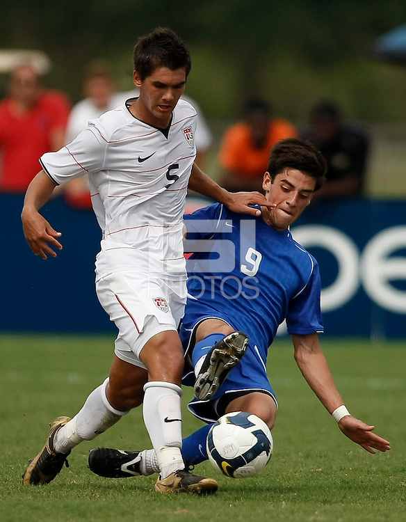 Erik Stephenson (5) of the USA and A. J. Corrado (9) of the Academy Select Team. The US U-17 Men's National Team defeated the Development Academy Select Team 5-3 during day two of the US Soccer Development Academy  Spring Showcase in Sarasota, FL, on May 23, 2009.