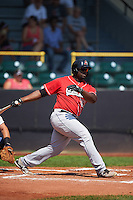 Great Lakes Loons first baseman Justin Chigbogu (29) at bat during a game against the Clinton LumberKings on August 16, 2015 at Ashford University Field in Clinton, Iowa.  Great Lakes defeated Clinton 3-2 in ten innings.  (Mike Janes/Four Seam Images)