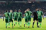 11.02.2018, Weserstadion, Bremen, GER, 1.FBL, SV Werder Bremen vs VfL Wolfsburg<br /> <br /> im Bild<br /> Jubel zum 3:1, Zlatko Junuzovic (Werder Bremen #16), Florian Kainz (Werder Bremen #7), Maximilian Eggestein (Werder Bremen #35), Jerome Gondorf (Werder Bremen #8), Niklas Moisander (Werder Bremen #18), Ludwig Augustinsson (Werder Bremen #5), Deniz Aytekin (Schiedsrichter / referee), Max Kruse (Werder Bremen #10), <br /> <br /> Foto &copy; nordphoto / Ewert