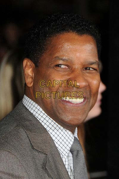"DENZEL WASHINGTON.""Unstoppable"" Los Angeles Premiere held at the Regency Village Theatre, Westwood, California, USA..October 26th, 2010.headshot portrait grey gray tie checked check smiling.CAP/ADM/BP.©Byron Purvis/AdMedia/Capital Pictures."