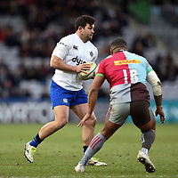 Nathan Catt of Bath Rugby in possession. Aviva Premiership match, between Harlequins and Bath Rugby on March 2, 2018 at the Twickenham Stoop in London, England. Photo by: Patrick Khachfe / Onside Images