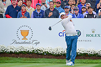 Louis Oosthuizen (RSA) watches his tee shot on 4 during round 3 Four-Ball of the 2017 President's Cup, Liberty National Golf Club, Jersey City, New Jersey, USA. 9/30/2017.<br /> Picture: Golffile | Ken Murray<br /> <br /> All photo usage must carry mandatory copyright credit (&copy; Golffile | Ken Murray)