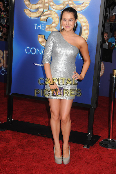Alexa Vega.The 20th Century Fox 'Glee 3D' Concert World Movie Premiere held at The Regency Village theatre in Westwood, California, USA,.August 6th 2011..full length hand on hip one shoulder shiny silver dress shoes grey gray platform sequined sequin purple clutch bag   .CAP/ADM/BP .©Byron Purvis/AdMedia/Capital Pictures.