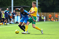 Tayo Obelayo of Hartley Wintney shields the ball from Dylan Merchant of Horsham during Horsham vs Hartley Wintney, Friendly Match Football at Hop Oast on 13th July 2019