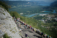 Chris Froome (GBR/SKY) up the spectacular Lacets du Grand Colombier (Cat1/891m/8.4km/7.6%)<br /> <br /> stage 15: Bourg-en-Bresse to Culoz (160km)<br /> 103rd Tour de France 2016