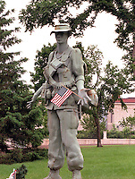 Statue of soldier with flag at Vietnam Wall on Memorial Day. St Paul Minnesota USA