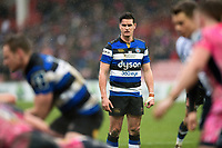 Freddie Burns of Bath Rugby looks on. Anglo-Welsh Cup Final, between Bath Rugby and Exeter Chiefs on March 30, 2018 at Kingsholm Stadium in Gloucester, England. Photo by: Patrick Khachfe / Onside Images
