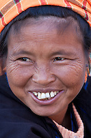 Myanmar, Burma.  Woman of Pa-O Ethnic Group at Local Market, Inle Lake, Shan State.