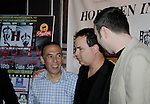"""actor Gilbert Gottfried starred in Rock Story directed by Dylan Bank (R)  and producer Kenneth Del Vecchio who was the host on closing night at Hoboken International Film Festival - Closing Night June 5, 2014  at the Paramount Theatre, Middletown, New York. - Opening night party and ceremony and Opening Night world-wide Premiere of Star-Filled Film """"Rock Story"""", a rock n'roller coaster drama/mystery starring Mandy Bruno, Robert Bogue and more.  (Photo by Sue Coflin/Max Photos)"""