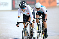 Rushlee Buchanan of Waikato BOP and Michaela Drummond  of West Coast North Island race to the finish line in the Elite Women Omnium 3 , Elimination race,  at the Age Group Track National Championships, Avantidrome, Home of Cycling, Cambridge, New Zealand, Sunday, March 19, 2017. Mandatory Credit: © Dianne Manson/CyclingNZ  **NO ARCHIVING**