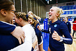 PENSACOLA, FL - DECEMBER 09: Taylor Soine (9) of Concordia University, St. Paul celebrates with teammates during the Division II Women's Volleyball Championship held at UWF Field House on December 9, 2017 in Pensacola, Florida. (Photo by Timothy Nwachukwu/NCAA Photos via Getty Images)