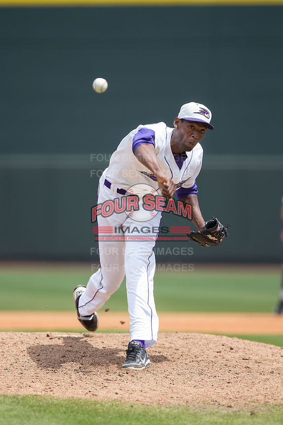 Winston-Salem Dash relief pitcher Jose Brito (28) in action against the Carolina Mudcats at BB&T Ballpark on April 22, 2015 in Winston-Salem, North Carolina.  The Dash defeated the Mudcats 4-2..  (Brian Westerholt/Four Seam Images)