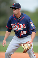 Minnesota Twins infielder Chad Christensen (15) during practice before a minor league spring training game against the Baltimore Orioles on March 20, 2014 at the Buck O'Neil Complex in Sarasota, Florida.  (Mike Janes/Four Seam Images)