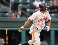 July 21, 2008: Infielder Valerio Heredia (3) of the Hagerstown Suns, Class A affiliate of the Washington Nationals, in a game against the Greenville Drive at Fluor Field at the West End in Greenville, S.C. Photo by:  Tom Priddy/Four Seam Images