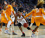 SIOUX FALLS MARCH 25:  Kelsey Mitchell #3 of Ohio State drives between Tennessee defenders Mercedes Russell #21 and Bashaara Graves #12 during their 2016 NCAA Women's Basketball Sioux Falls Regional Semifinal Friday night at the Denny Sanford Premier Center in Sioux Falls, S.D. (Photo by Dick Carlson/Inertia)