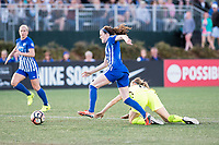 Boston, MA - Saturday April 29, 2017: Rose Lavelle and Kristen McNabb during a regular season National Women's Soccer League (NWSL) match between the Boston Breakers and Seattle Reign FC at Jordan Field.