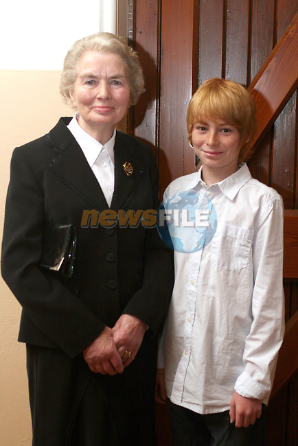 Alex Agrios with his sponsor, Briege Murphy at  the Termonfeckin NS Confirmation...Photo NEWSFILE/Jenny Matthews.(Photo credit should read Jenny Matthews/NEWSFILE)....This Picture has been sent you under the condtions enclosed by:.Newsfile Ltd..The Studio,.Millmount Abbey,.Drogheda,.Co Meath..Ireland..Tel: +353(0)41-9871240.Fax: +353(0)41-9871260.GSM: +353(0)86-2500958.email: pictures@newsfile.ie.www.newsfile.ie.FTP: 193.120.102.198.