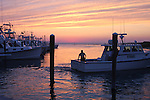 Docking the boat at sunset. Rock Harbor, Orleans, MA