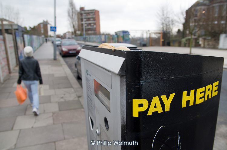 Pay and display parking machine, West Hampstead, London.