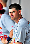 14 March 2010: St. Louis Cardinals' pitcher Adam Ottavino sits in the dugout during a Spring Training game against the Washington Nationals at Space Coast Stadium in Viera, Florida. The Cardinals defeated the Nationals 7-3 in Grapefruit League action. Mandatory Credit: Ed Wolfstein Photo