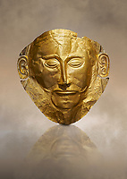 Mycenaean gold death mask, Mask of Agamemnon, Grave Cicle A, Mycenae, Greece.National Archaeological Museum of Athens.<br /> <br /> The mask from Grave V depicts an imposing face of a bearded man descovered by  Heinrich Schliemann who believed it was the body of Agamemnon, this is unproven to date.  The Mycenaean death mask belonged to a warrior and made of gold leaf it cocered the dead mans face held on by cord threaded tgrough the two sides of the mask.  The mask of Agamemnon was created from a single thick gold sheet, heated and hammered against a wooden background with the details chased on later with a sharp tool. The artifact dates from the 16th century BC.