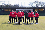 Rushall Olympic 1 Workingon 0, 17/02/2018. Dales Lane, Northern Premier League Premier Division. The Workington Team inspect the pitch. Photo by Paul Thompson.