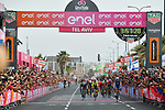 Elia Viviani (ITA) Quick-Step Floors wins Stage 2 of the 101st edition of the Giro d'Italia 2018 running 167km from Haifa to Tel Aviv, Israel. 5th May 2018.<br /> Picture: LaPresse/Gian Mattia D'Alberto | Cyclefile<br /> <br /> <br /> All photos usage must carry mandatory copyright credit (&copy; Cyclefile | LaPresse/Gian Mattia D'Alberto)