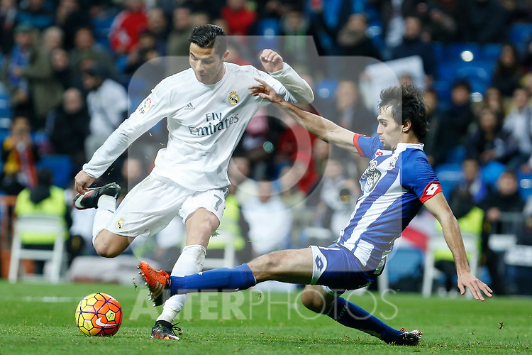 Real Madrid´s Cristiano Ronaldo and Deportivo de la Coruna´s Arribas during 2015/16 La Liga match between Real Madrid and Deportivo de la Coruna at Santiago Bernabeu stadium in Madrid, Spain. January 09, 2015. (ALTERPHOTOS/Victor Blanco)