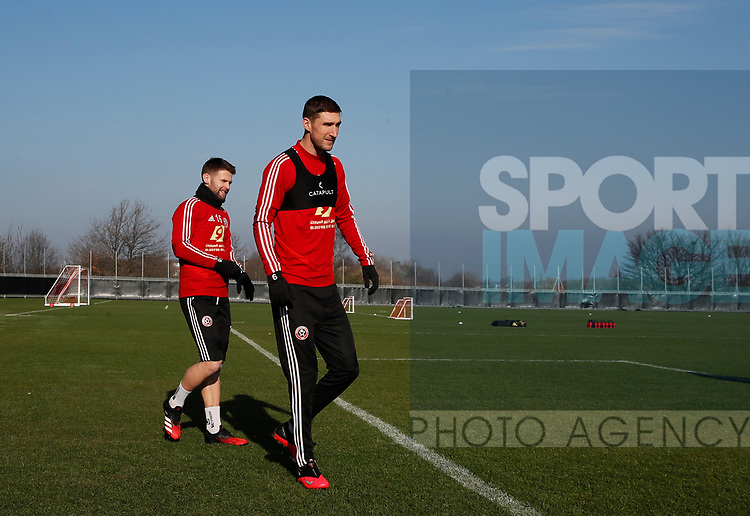 Oliver Norwood and Chris Basham of Sheffield Utd during the Press Conference & Training at the Steelphalt Academy, Sheffield. Picture date: 7th February 2020. Picture credit should read: Simon Bellis/Sportimage