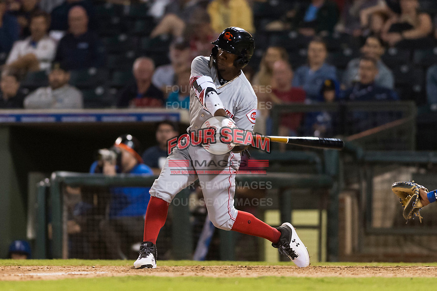 AFL East second baseman Shed Long (6), of the Salt River Rafters and the Cincinnati Reds organization, swings at a pitch during the Arizona Fall League Fall Stars game at Surprise Stadium on November 3, 2018 in Surprise, Arizona. The AFL West defeated the AFL East 7-6 . (Zachary Lucy/Four Seam Images)