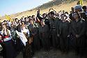 Iraq 2009 .PKK guerillas line up in front of their supporters..Irak 2009 .Des combattants du PKK avec leurs sympathisants..