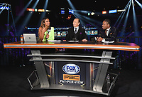 LAS VEGAS - NOVEMBER 23:  Kate Abdo, Ray Mancini and Shawn Porter at the FOX Sports PBC Pay-Per-View Fight Night at the MGM Grand Garden Arena on November 23, 2019 in Las Vegas, Nevada. (Photo by Frank Micelotta/Fox Sports/PictureGroup)