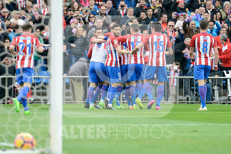 Atletico de Madrid's Kevin Gameiro, Antoine Griezmann, Yannick Carrasco, Lucas Hernández, Stefan Savic and Saúl Ñígez celebrating a goal during La Liga match between Atletico de Madrid and Valencia CF at Vicente Calderon Stadium  in Madrid, Spain. March 05, 2017. (ALTERPHOTOS/BorjaB.Hojas)