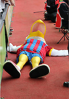 Pictured:The Crystal Palace mascot lies on the floor after a Swansea supporter inserted his head in its beak<br />
