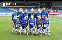 20190807 - DENDERLEEUW, BELGIUM : Linfield's players with Lauren Perry (1) , Louise McFrederick (3) ,  Ashley Hutton (5) , Casey Howe (8) , Kirsty McGuinness (11) , Kelsie Burrows (14) , Clare Timoney (16) , Rebecca Mckenna (18) , Abbie Magee (19) , Caitlin McGuinness (26) and Chloe McCarron (97) pictured posing for the teampicture during the female soccer game between the Norwegian LSK Kvinner Fotballklubb Ladies and the Northern Irish Linfield ladies FC , the first game for both teams in the Uefa Womens Champions League Qualifying round in group 8 , Wednesday 7 th August 2019 at the Van Roy Stadium in Denderleeuw  , Belgium  .  PHOTO SPORTPIX.BE for NTB  | DAVID CATRY