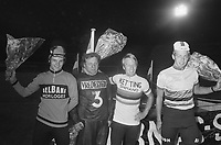 Celebration of Dutch medalists at the World Cycling Championships held during the 1976  Montreal  Olympics,  Cees Stam and Roy Schuiten<br /> Date August 28, 1974<br /> <br /> Photographer Peters, Hans / Anefo
