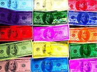 hand colored $100 bills