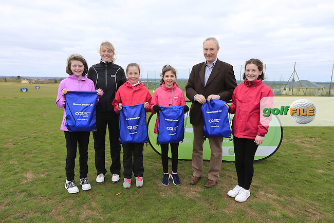Wicklow Golf Club Girls With Kate Wright CGI and Brendan Byrne Bank of Ireland.<br /> Junior golfers from across Leinster practicing their skills at the regional finals of the Dubai Duty Free Irish Open Skills Challenge supported by Bank of Ireland at the Heritage Golf Club, Killinard, Co Laois. 2/04/2016.<br /> Picture: Golffile | Fran Caffrey<br /> <br /> <br /> All photo usage must carry mandatory copyright credit (&copy; Golffile | Fran Caffrey)