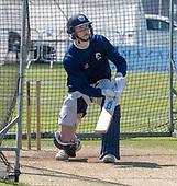 Issued by Cricket Scotland - Scotland player Michael Jones gets in some practice ahead of tomorrow's (sat) Scotland V Sri Lanka 1st One Day International at Grange CC, Edinburgh - picture by Donald MacLeod - 17.05.19 - 07702 319 738 - clanmacleod@btinternet.com - www.donald-macleod.com