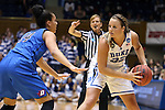 24 March 2014: Duke's Tricia Liston (32) and DePaul's Jessica January (14). The Duke University Blue Devils played the DePaul University Blue Demons in an NCAA Division I Women's Basketball Tournament Second Round game at Cameron Indoor Stadium in Durham, North Carolina. DePaul won the game 74-65.